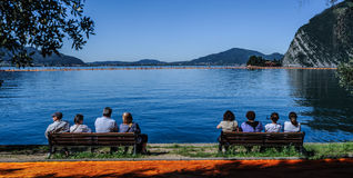 View of San Paolo island from the Floating Piers Royalty Free Stock Photos