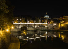 View of San Pietro and Tevere, Rome, Italy. View of San Pietro and Tevere by night, Rome, Italy Stock Photos
