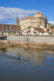 View of San Prudencio, Tagus River, canoeists, Talavera, Stock Image