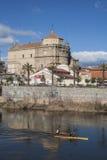 View of San Prudencio, Tagus River, canoeists, Talavera, Toledo Stock Photos