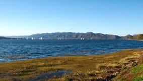 View of San Roque Lake. Villa Carlos Paz, Cordoba, Argentina - 2017: View of San Roque Lake stock images