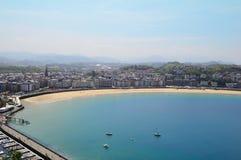 View of San Sebastian bay. San Sebastian (Donostia) - Gipuzkoa, Basque Country, Spain. View of the city and bay Stock Photography