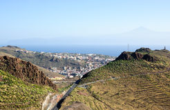 View on San Sebastian la Gomera, and Tenerife with Teide Stock Photos
