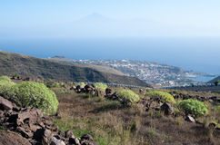 View on San Sebastian la Gomera, and Tenerife with Teide stock image