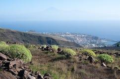 View on San Sebastian la Gomera, and Tenerife with Teide Stock Image