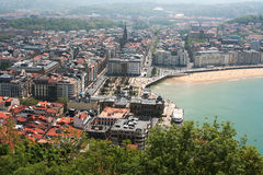 View of San Sebastian from Mount Urgull, May 5, 2013 in San Sebastian, Spain. Royalty Free Stock Photos