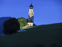 View of San Valentino church by night Stock Photography