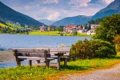 View of San Valentino village from Muta lake (Haidersee) Stock Image