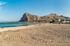 View of San Vito Lo Capo beach with Monte Monaco in background, Sicily. Royalty Free Stock Image