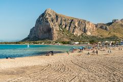 View of San Vito Lo Capo beach with Monte Monaco in background, Sicily. stock photography