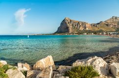 View of San Vito Lo Capo beach with Monte Monaco in background, Sicily. Royalty Free Stock Images