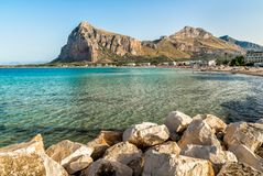 View of San Vito Lo Capo beach with Monte Monaco in background, Sicily. stock photos
