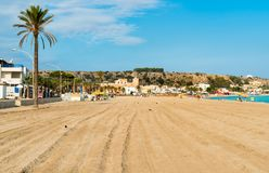 View of San Vito Lo Capo beach in the morning, Sicily. royalty free stock photography