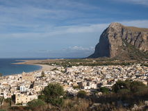 View of San Vito lo Capo and its coastline bathed by the Mediterranean Sea/San Vito lo Capo, Sicily, Italy. Photo took in september above San Vito lo Capo stock image