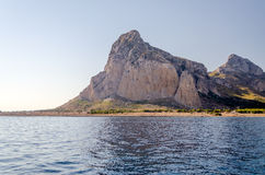 View of San Vito Lo Capo from the sea Royalty Free Stock Photography