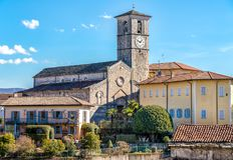 View of San Vittore romanesque Church located in the locality Canonica of Brezzo di Bedero above lake Maggiore in province of Vare. Se, Italy Stock Photos