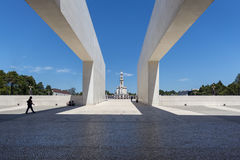 View of the Sanctuary of Fatima during the celebrations of the apparition of the Virgin Mary in Fatima, Portugal. Fatima, Portugal - May 13, 2014: View of the Stock Photo