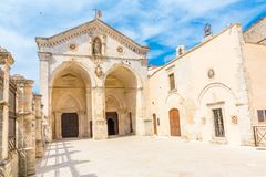 View of Sanctuary at Monte Sant`Angelo in apulia, Italy. View of main facade of Saint Michael Archangel Sanctuary at Monte Sant`Angelo, in Apulia region, Italy stock photo
