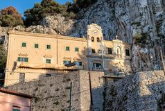 View of Sanctuary of Saint Rosalia with the holy cave on top of Monte Pellegrino in Palermo, Sicily. Royalty Free Stock Image