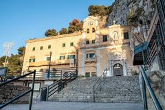 View of Sanctuary of Saint Rosalia with the holy cave on top of Monte Pellegrino in Palermo, Sicily. Stock Photo