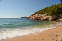 Sand Beach. A view from Sand Beach in Acadia National Park in Maine Royalty Free Stock Photos
