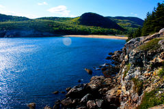 View of Sand Beach at Acadia National Park Stock Images