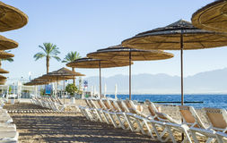 View on sand beach of Eilat Royalty Free Stock Photo