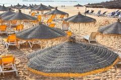 View of sand beach on hot summer day, Agadir, Morocco Stock Photos