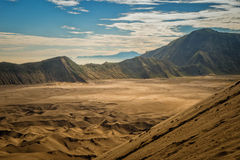 View of sand sea. Sand sea viewed from Mount Bromo, Indonesia Stock Photo