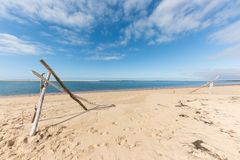 The beach of the dune of Pilat on the Arcachon Bay, France. View on the sandbank of Arguin from the beach of the dune of Pilat, or Pyla, in France, on the Royalty Free Stock Photography