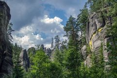 Landscape in rock formations Adrspach-Teplice National Nature. View of the sandstone Pillars. Teplice-Adrspach Rock Town. Rocky town in Adrspach - National Royalty Free Stock Photo