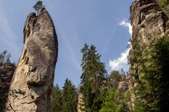 Landscape in rock formations Adrspach-Teplice National Nature. View of the sandstone Pillars. Teplice-Adrspach Rock Town. Rocky town in Adrspach - National Royalty Free Stock Photography