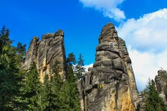 View of the sandstone Pillars. Teplice-Adrspach Rock Town. Rocky town in Adrspach - National Nature Reserve in the Czech Republic Royalty Free Stock Photos