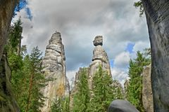 View of the sandstone Pillars. Teplice-Adrspach Rock Town. Rocky town in Adrspach - National Nature Reserve in the Czech Republic, Stock Image