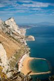 A view of Sandy Bay. East Side of Gibraltar from the top of the Rock royalty free stock image