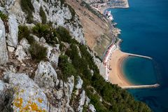 A view of Sandy Bay. East Side of Gibraltar from the top of the Rock stock image