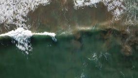 View of the sandy beach from the air. Spain, Valencia , playa el saler, Mediterranean sea.  stock video