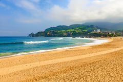 View of sandy beach in Bakio, Basque country, Spain stock photography