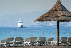 View on sandy beach of Eilat Royalty Free Stock Images