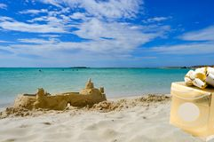 View From the sandy beach of Elafonisi Stock Photography