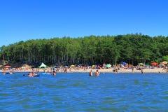 View of the sandy beach with sea Kulikovo. KULIKOVO, RUSSIA — JULY 19, 2014: View of the sandy beach with sea Kulikovo Royalty Free Stock Photo