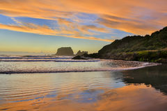 View of Sandy beach at Sunrise. Westport of New Zealand. Royalty Free Stock Photography
