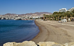 View on sandy northern beach of Eilat, Israel Royalty Free Stock Photo