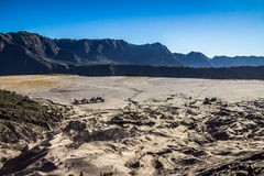 View of the sandy plains around Mount Bromo in Java Indonesia Stock Photo