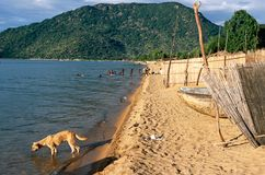 A view of the sandy shores of Lake Malawi. Stock Photos