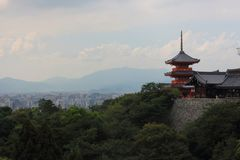 View of Sanjūnodō pagoda highest pagoda in Japan with 31 m. high with Kyoto city on background, Kiyomizu-dera temple, Kyoto. View of Sanjūnodō pagoda Stock Photos