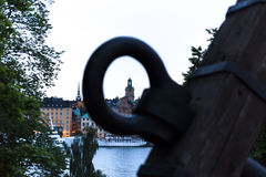 View of Sankt Nikolai kyrka. Stockholm. Sweden. 03.08.2016. Skeppsholmen bridge laid across the Strait of Riddarfjärden and connects the two islands in the royalty free stock photo