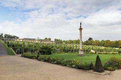 View of the Sanssouci Palace, Potsdam, Germany. View from park to Sanssouci Palace and the terrace vineyards, Potsdam, Germany royalty free stock photo