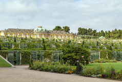 View of the Sanssouci Palace, Potsdam, Germany. View from park to Sanssouci Palace and the terrace vineyards, Potsdam, Germany royalty free stock images