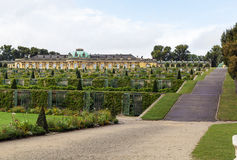View of the Sanssouci Palace, Potsdam, Germany. View from park to Sanssouci Palace and the terrace vineyards, Potsdam, Germany royalty free stock image
